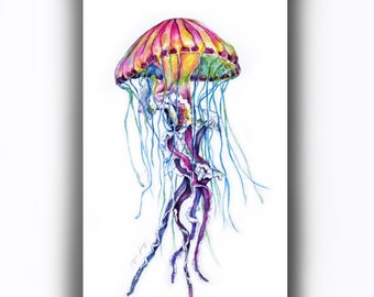 Jellyfish Original Watercolor Painting, Colorful Sea Jelly Illust, Nautical Wall Art, Sea Animal Watercolor, Contemporary Jellyfish Art