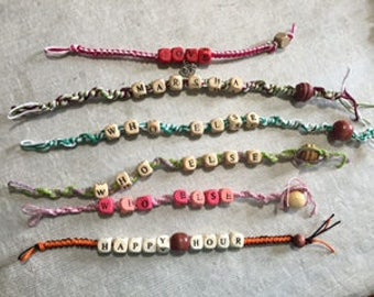 Custom hemp bracelets with wooden beads