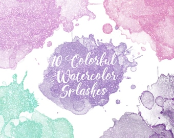 Sparkly Watercolor Splashes Clipart, Sparkly Watercolor Clipart, Glitter Watercolor Clipart, Watercolor Splash Clipart, Pink Watercolor