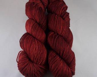 Hand Dyed DK Yarn, hand dyed wool, variegated DK yarn, nylon DK yarn, red