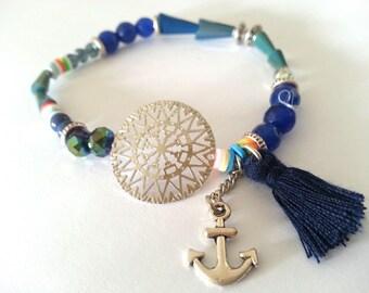 Tassel and fine print elastic bracelet