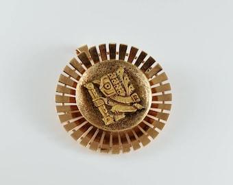 Vintage 14K Gold Pin/Pendant with Mayan Design