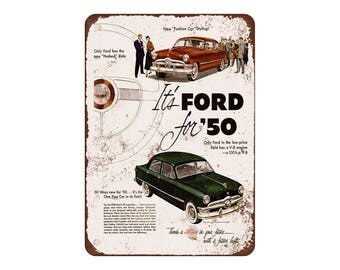 """1950 Ford Custom - Vintage Look Reproduction 9"""" X 12"""" Metal Sign"""