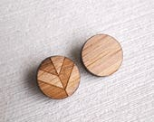 3x The Bamboo Cardigan Button (chevron button, shank buttons, shanks, coat button, wooden button, jacket, sewing notions, fashion, supplies)