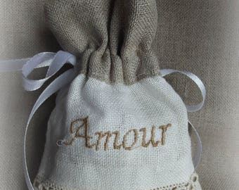 made of linen and embroidered Lavender sachet