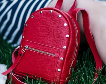 Backpack, Red leather backpack - Baby-Sport