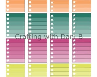 Bright Ombre Checkbox-Planner Sticker-Erin Condren-Life Planner