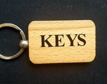 Wooden Keyring Key ring - KEYS - Birthday Gifts Father's day - New Dad Wooden gifts