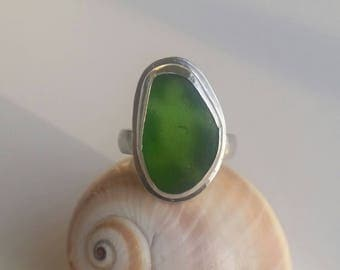 Large Genuine Sea Glass Ring. Sterling Silver Ring Size 9. Green Turtle Sea Glass Ring. Sea Glass Jewelry. Sea Glass Ring. Handmade Jewelry