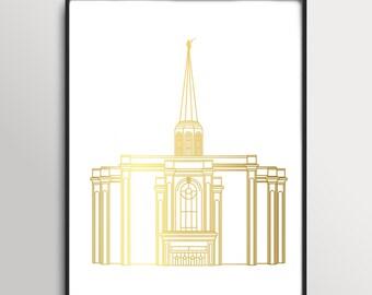 LDS St. Louis Missouri Temple Gold Foil Print