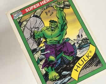 On Sale Free shipping with Marvel comics trading card 1990 #3. The Hulk Super Heroes trading card. The Hulk