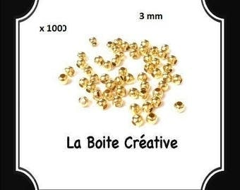 1000 3 mm INTERCALAIRES in Golden METAL round beads