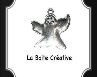 Charm / pendant in the shape of ghost / halloween 25 x 24 mm silver-plated