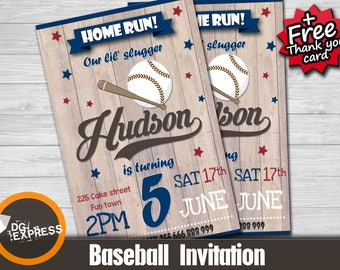 "Baseball Invitation - ""Vintage BASEBALL BIRTHDAY Invitation"" First Birthday Invitation, Baseball Party Invite, Softbal Printable"