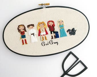 Custom 5 Character Cross Stitch Family Portrait | Housewarming Gift | Custom Portrait |Custom Cross Stitch | by Cloth and Twig