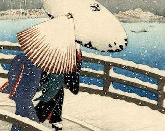 Japanese Winter Landscape Counted Cross Stitch Pattern / Chart, Instant Digital Download, Crossing a Bridge in Snow, Ohara Koson  (AP120)