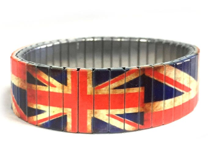 British flag bracelet, Aged, England, Stretch Bracelet, Repurpose watch band, Sublimation, Stainless Steel, Wrist Band, gift for friends
