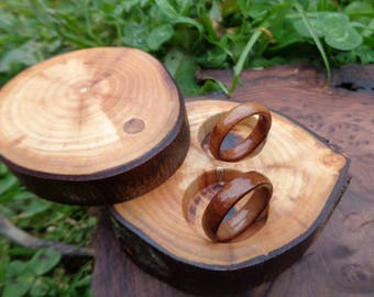 Wooden rings, Wood ring set, Madrone band ring set, Madrone branch ring case,  Wood rings, Burl wood wedding band ring, Wood wedding rings
