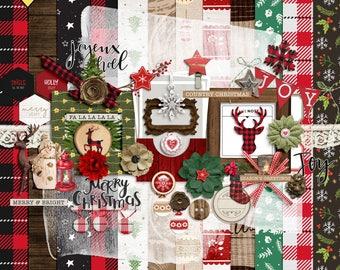 Digital scrapbooking kits christmas, Digital christmas elements, Christmas scrapbook embellishment, Christmas scrapbook kit