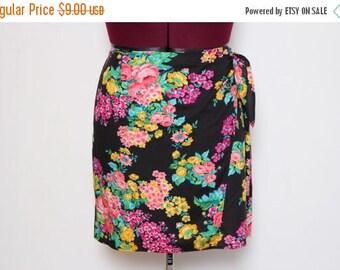 25% OFF VTG 90s Floral Black Wrap Summer Mimi Skirt XL/Xxl