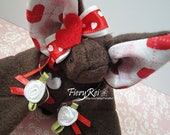 Brown and Red Valentine's Day Bat Plush, Valentines Day, Bat Plush, Plush, Cute