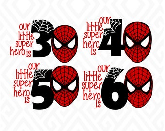 Little SuperHero Birthday Years 3-6; SVG, DXF, EPS, Ai, Png and Pdf Cutting Files for Electronic Cutting Machines