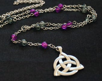 Silver metal with purple and gray pearls and triquetra pendant chain necklace