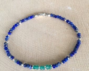 Dainty Lapis Lazuli and Emerald Green Onyx Stacking Beaded Bracelet