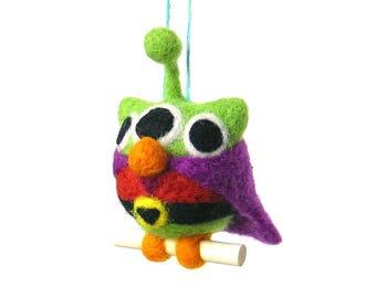 Alien owl. Needle felted figurineto hang.