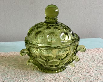 Fancy Green Glass Candy Dish unique covered dish Trinket Dish