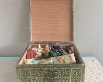 Vintage Sewing Notions lot in Gold Box Sewing Odds and Ends