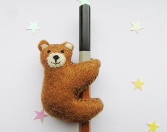 Bear Pencil Topper/Hugger - Felt Plush