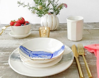 Linen Watercolor Dinnerware Plates with 22K Outline Choose Your Color MADE TO ORDER