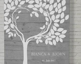 70x50 vintage Gästebuch, Wedding tree, Hochzeitsbaum, Hochzeitsgeschenk und Erinnerung, Unikat Leinwanddruck