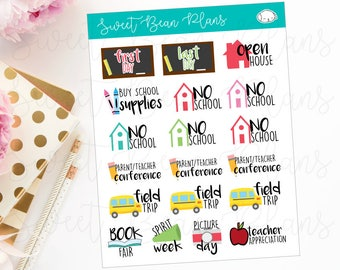 School Events and Days- Field Trip, Picture Day, Book Fair, Spirit Week, Kid's Planner Stickers