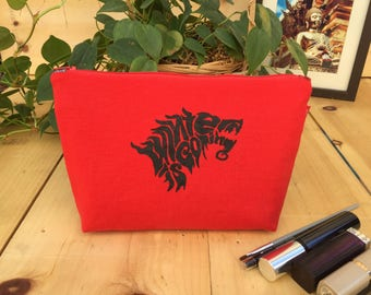 NEW! Game of Thrones 'Winter is Coming' House Stark Direwolf Makeup Bag/Zipper Pouch