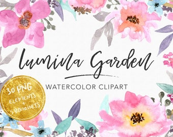 Digital watercolor clipart, Hand painted watercolor, Flower Watercolour Clipart, Wedding clipart, Digital patterns, Watercolor florals