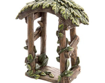 Wooden Look Arch with Climbing Ivy for Fairy Gardens Fairies Miniature 4.75 inch