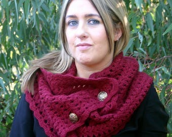 Crochet Pattern, Crochet Scarf Pattern, Button Scarf Pattern, Crochet Cowl Pattern, Crochet Shawl, Crochet Wrap The Willow Convertible Scarf