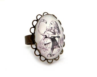 Ring adjustable alice in Wonderland ALICE countries
