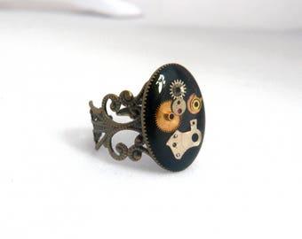 Black steampunk ring