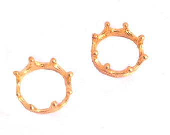 LOT 2 Crown King Queen Princess jewelry Kings 15mm color gold
