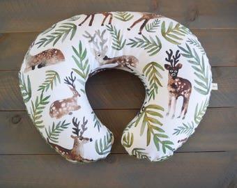 Nursing Pillow Cover Deer Watercolor Woodland for Boppy Pillow, Breastfeeding Pillow Slipcover Deer Leaves, Forest Nursery Decor, Woodland
