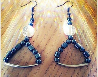 Earrings black and silver beads