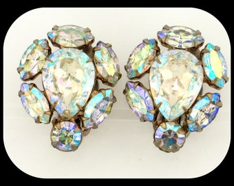 Vintage Signed Early WEISS Aurora Borealis AB Rhinestone Clip On EARRINGS