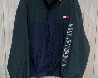 VTG tommy hilfiger Jacket XXL Colorblock Spell Out Stowaway Hood Hip sailling gear