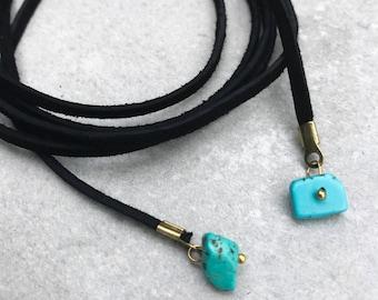 Turquoise necklace, Boho necklace, Suede necklace, Layer wrap necklace, Vegan or genuine suede