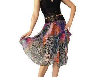 Cheetah Melange Chiffon Circle Tango Skirt