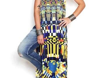 Long dress, colorful dress, summer dress, long tunic, tunic dress, sleeveless dress, stylish dress, bright ethnic dress, dress with slits