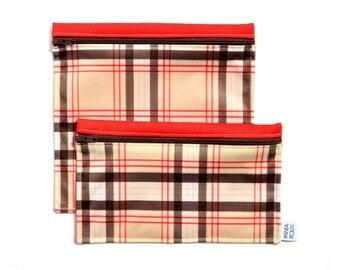 Sacs à sandwich et collation réutilisables - Plaid beige - Reusable bags - 1 snack bag 1 sandwich bag